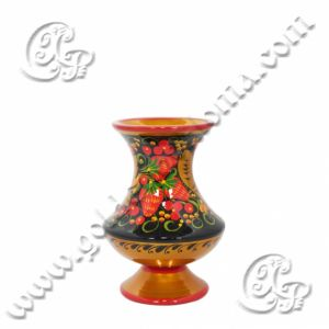 Buy Souvenir Vase Graceful 100x75 in wood with Khokhloma painting online in the online store